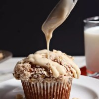 Pumpkin Brown Butter Streusel Muffins with Maple Cream Cheese Glaze