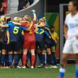Sweden celebrates after beating the US women (photo, npr.org)