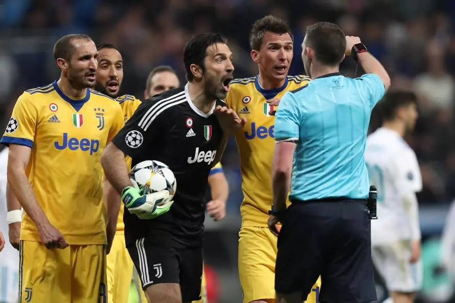 Gianluigi Buffon reacts to a red card against Real Madrid last night