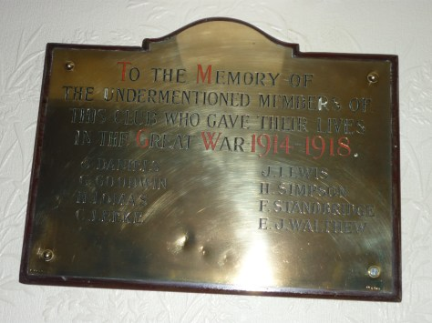 Memorial Plaque inside the now Sports & Social Club Fairfield
