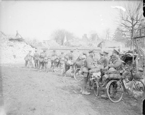 Army Cycling Corps at rest Courcelles, March 1917
