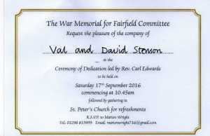 WW1 Fairfield Memorial Dedication