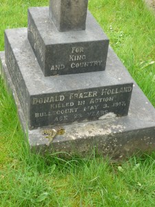 Donald Frazer Holland remembered on his mothers grave St Peters Churchyard 2014