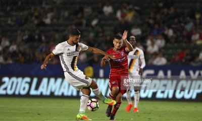 CARSON, CA - AUGUST 10: Sebastian Lletget #17 of the Los Angeles Galaxy deflects the ball from Mauro Diaz #10 of FC Dallas during the semifinal of the 2016 U.S. Open Cup at StubHub Center on August 10, 2016 in Carson, California. FC Dallas defeated the Galaxy 2-1 in extra time. (Photo by Victor Decolongon/Getty Images)