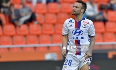 Lyon's French forward Mathieu Valbuena reacts during the French L1 football match Lorient vs Lyon, at the Mostoir stadium in Lorient, western France, on September 24, 2016. / AFP / LOIC VENANCE (Photo credit should read LOIC VENANCE/AFP/Getty Images)