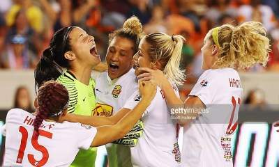 HOUSTON, TX - OCTOBER 09: Goalkeeper Sabrina D'Angelo #1 (yellow) of the Western New York Flash celebrates with her teammates after defeating the Washington Spirit in a shootout during the 2016 NWSL Championship at BBVA Compass Stadium on October 9, 2016 in Houston, Texas. (Photo by Scott Halleran/Getty Images)