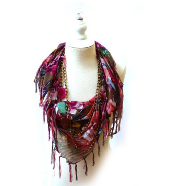 StyleOutsideTheBox.com, Burgundy Cowl and Antique Chain Scarf Necklace, $79