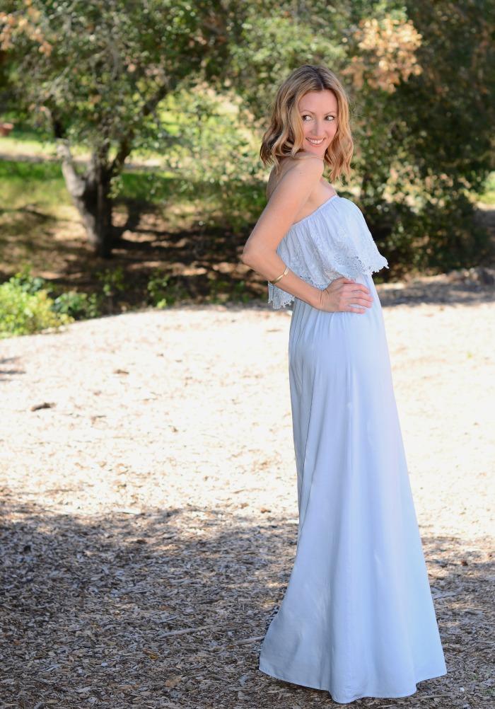 LuLus Born Free Light Blue Strapless Maxi Dress