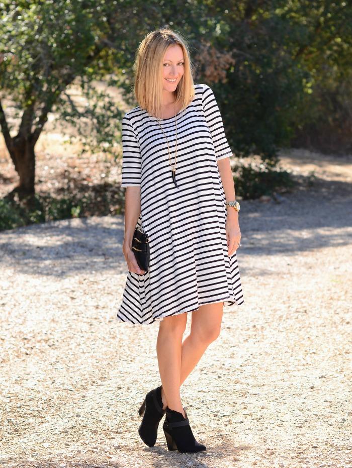 Merricks Art Striped Swing Dress for Golden Tote