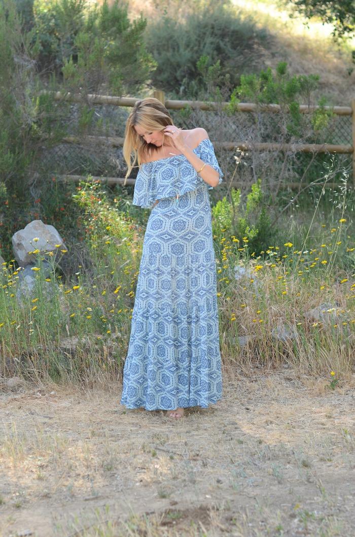 Swirl Ruffle Off the Shoulder Dress