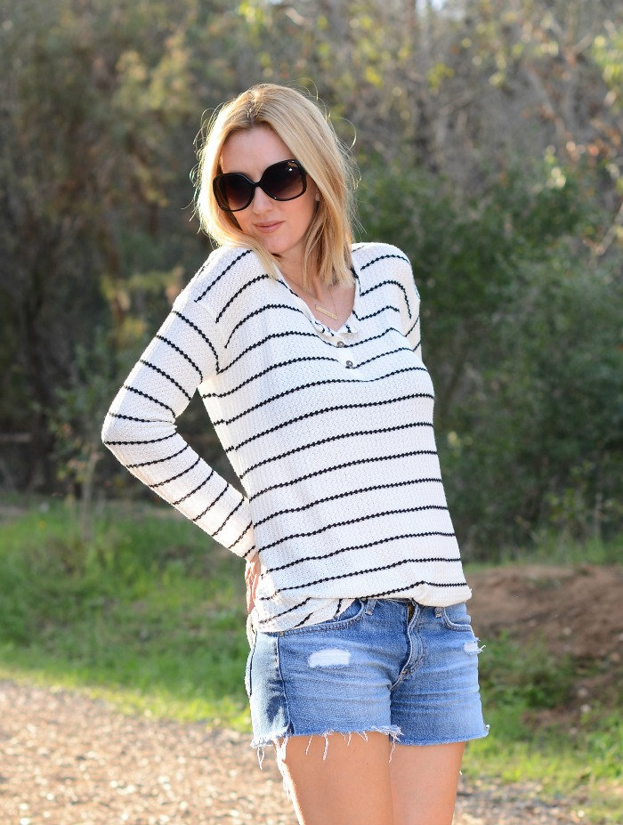 Chaser Brand Striped Henley Tee