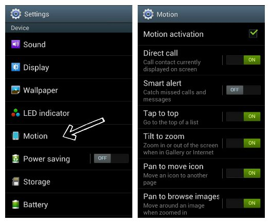 Samsung Galaxy S3 Motion Gestures