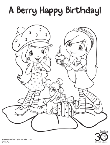 Strawberry Shortcake Coloring Page Birthday