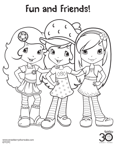 Strawberry Shortcake Coloring Page Friends