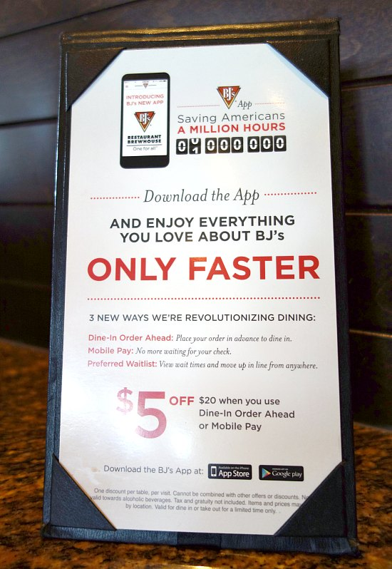 BJ's Restaurant Dine-In Order Ahead Mobile Pay