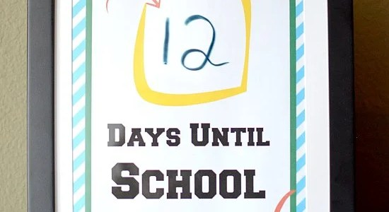 Back to School First Day Countdown