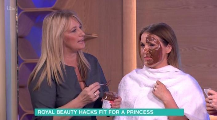 Beautician to the Royals, Deborah Miller, smothers a models face in chocolate as part of a 'beauty hack' segment