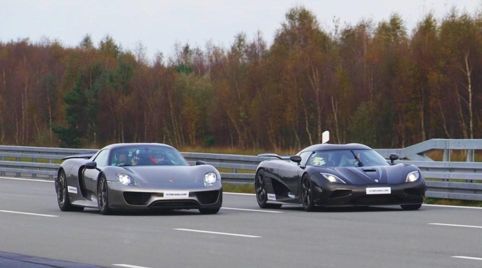 porsche 918 spyder vs koenigsegg agera r drag race the supercar blog. Black Bedroom Furniture Sets. Home Design Ideas