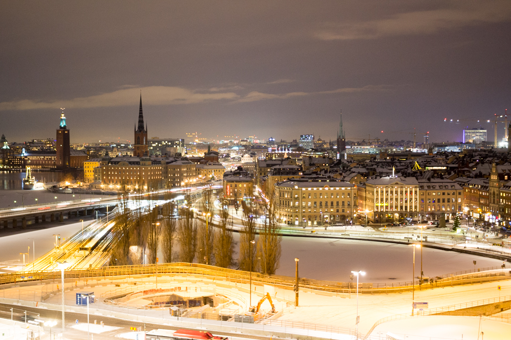 Stockholm at night, as seen from Gondolen