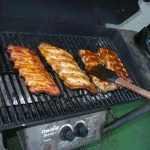 Basting the Ribs with Sauce on the Grill