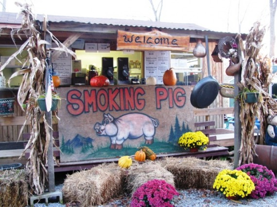 """Smokin' Pig BBQ"" at the Wears Valley Farm.  Best restaurant in town?  As far as we know..."