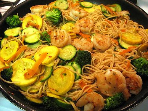 Shrimp and Summer Vegetable Linguine