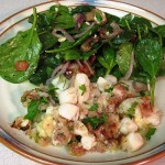 Warm Spinach Salad with Scallops Gratin