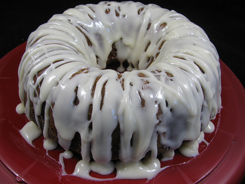 pumpkin spice cake with bourbon glaze
