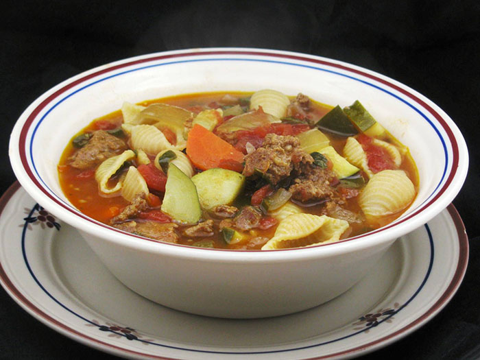 Slow Cooker Minestrone with Spicy Sausage