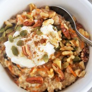 Carrot Cake Oatmeal with Maple Yogurt Frosting