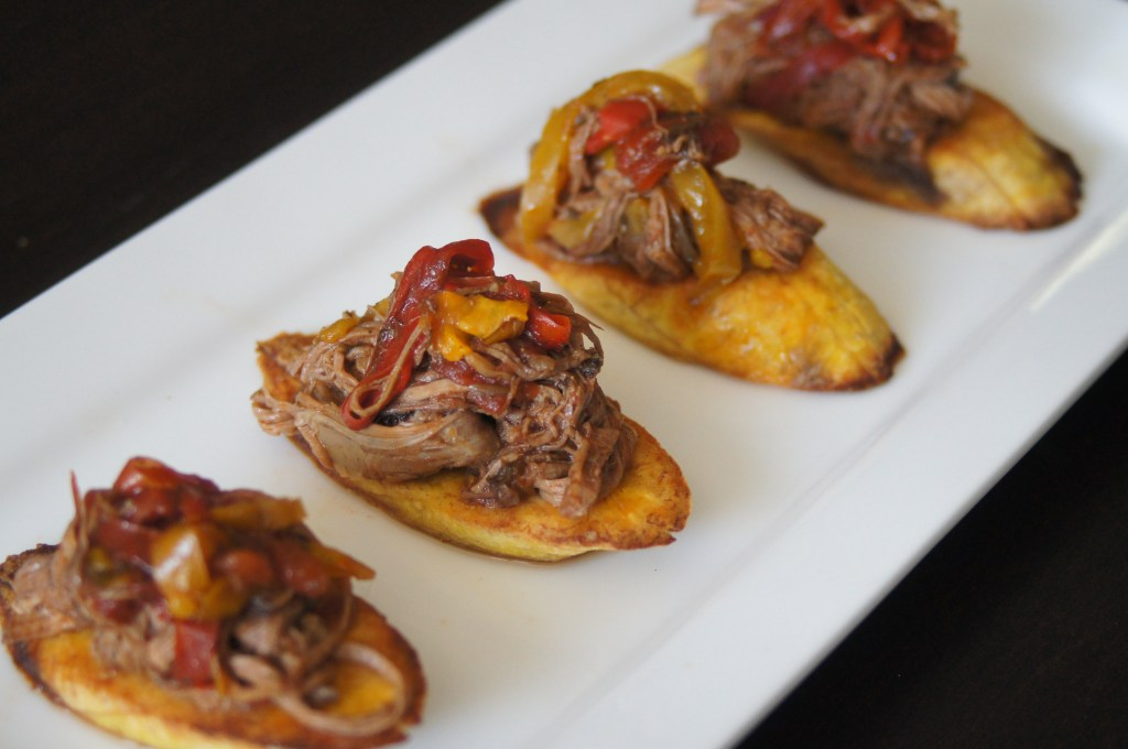Finished Ropa Vieja with Baked Plantains