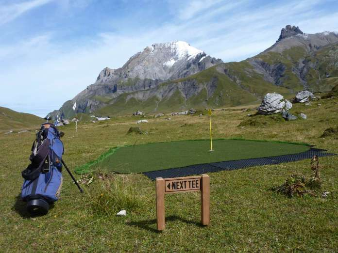 Golf Mountain pop-up course on Adelboden's Engstligenalp
