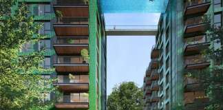 view of Sky Pool from street level, Embassy Gardens, London