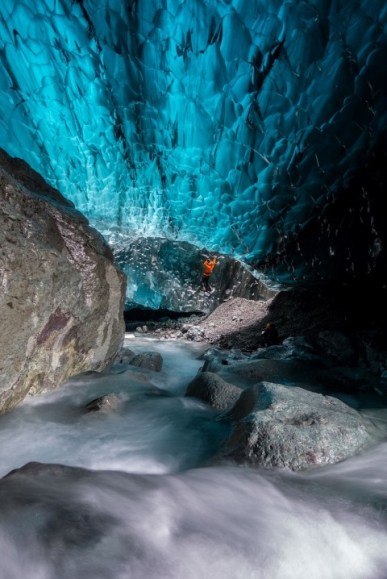 These pictures of the frozen world of the Vatnajökull Glacier were made possible through Sony's new sensor technology, allowing incredibly detailed low-light photography. Renowned local guides Einar Runar Sigurdsson and Helen Maria explored the frozen world of the Vatnajökull Glacier in Iceland using Sony's latest digital cameras, the RX10 II and RX100 IV, which feature the world's first 1.0 type stacked Exmor RS CMOS sensor. This picture: Helen Maria's photos from inside the Waterfall Cave For further information please contact Rochelle Collison at Hope & Glory PR on 020 7014 5306 or at rochelle.collison@hopeandglorypr.com Copyright: © Helen Maria / Sony