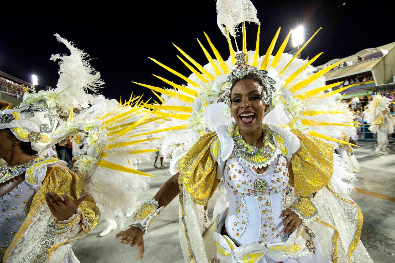Revelers of Estacio de Sa samba school perform during the first night of  the carnival parade ...