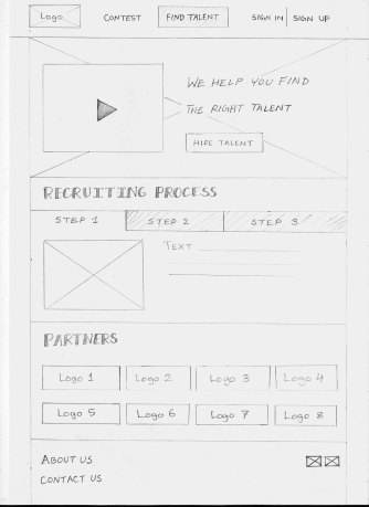 Sketch of Dev Skill landing page