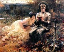 """Give me an hour, and you'll forget all about that silly mug..."" (Temptation of Percival by Arthur Hacker, 1894)"