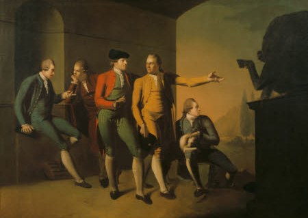 Oil painting on canvas, A Grand Tour Group of Five Gentlemen in Rome, attributed to John Brown (Edinburgh 1752 - Leith 1787), inscribed: on the plinth of sculpture: CAVILLA / TOREM / LEONI ('mocker of the lion), circa 1773. Four travellers stand or sit under a tunnel-vaulted structure with a niche (in which one of them sits), with a view to a valley with two cypresses and some buildings, bounded by mountains behind; a cicerone indicates the Antique group of A Lion devouring a Horse on a plinth, closing the picture on the right, to another of them. The five men are: The Rt. Hon. John Staples MP (1736-1820), James Byres (1734-1817), Sir William Young, 2nd Bt, MP, FRS, FSA (1749-1815), Thomas Orde-Powlett, 1st Baron Bolton of Bolton Castle, PC, FSA (1746-1807), and Richard Griffin, 2nd Lord Braybrooke, Baron of Braybrooke MP, FSA (1751-1825).Another example is at Audley End (EH), Essex which is recorded as having been there since at lest 1836 and descended with the house's owners, the barons Braybrooks.