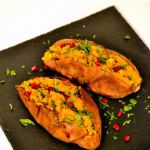 Dhal stuffed Sweet Potatoes