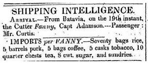 Curtis- Fanny - Goods list Mar 1835