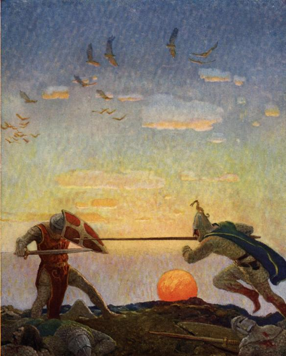 the death of Arthur and Mordred, Traitor, now is thy death day come, from The Boy's King Arthur- Sir Thomas Malory's History Edited for Boys by Sidney Lanier, 1922