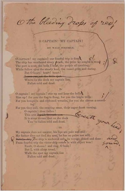 O Captain My Captain by Walt Whitman 1865 with revision notes