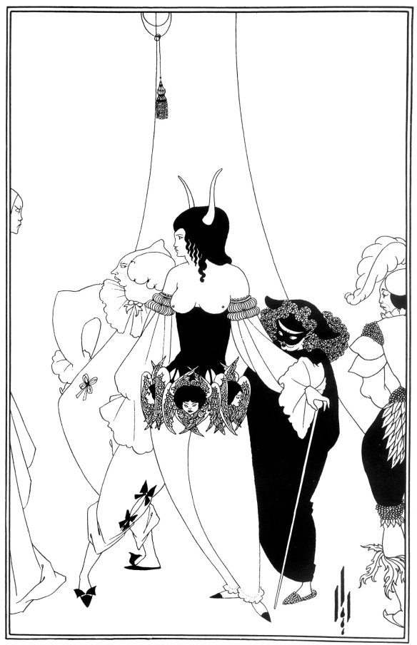 1894-1895 The Masque of the Red Death by Aubrey Beardsley mask art masquerade illustration Edgar Allan Poe