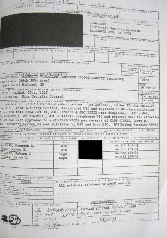 Incident-Complaint Report Ellsworth Air Force Base South Dakota UFO 1 US military document secret airman ET fight visitors government cover-up ii