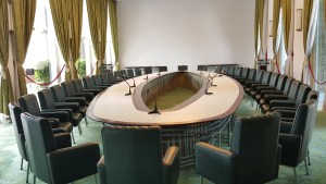 The meeting room in the Imperial Palace. It's mind boggling to image what kind of decisions were made here. Notice the green accents to produce an atmosphere of harmony.