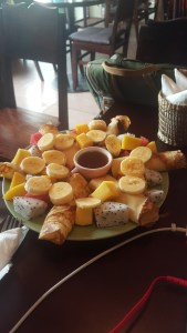 So much fruit on these pancakes at the Tree Hugger Cafe in Dong Hoi!