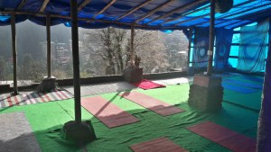 Yoga in Bagsu - open air and open walled!