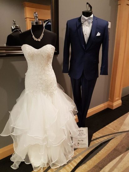 Gown: Sew Stylish Wedding Works | Tux: Collins Formalwear