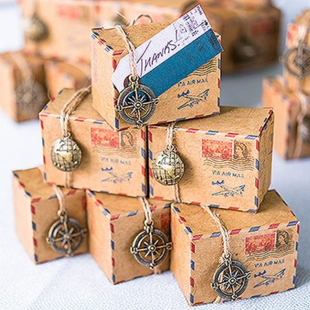 Send your guests home with a favour packed for the trip. The classic air mail print on the box combined with the travel inspired charms will make the job simple and your favours completely irresistible. 1.50 each.