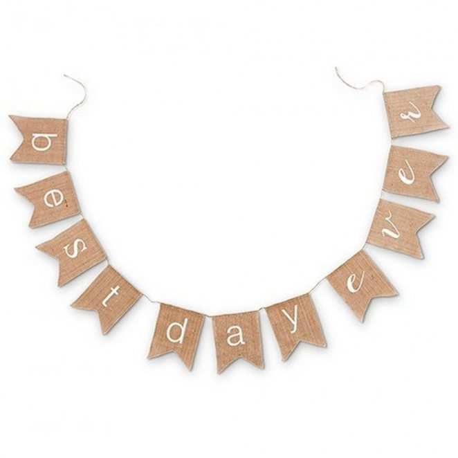 """""""Best Day Ever"""" Natural Burlap Bunting"""